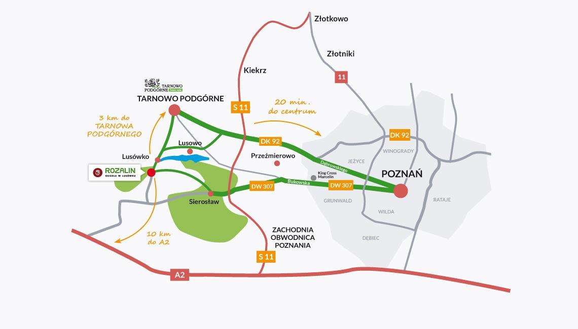 mapka dojazdu Osiedle Rozalin