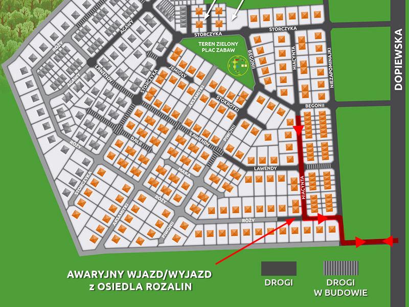 Osiedle Rozalin - mapa drogi awaryjnej - ważne informacje